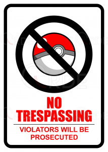 "Naklejka drukowana ""Pokemon Trespassing"""