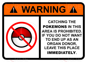 "Naklejka drukowana ""Pokemon Warning"""