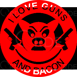 "Naklejka drukowana ""I love Guns and Bacon"""