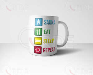 "Kubek z nadrukiem ""Sauna, Eat, Sleep, Repeat"""