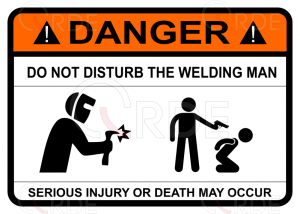 "Naklejka drukowana ""Do not disturb welding man"""